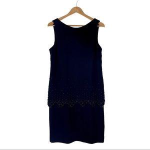 K Studio Size 12 Black Beaded Tiered Vintage Dress